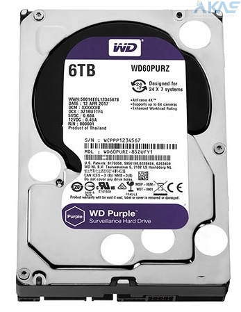 Ổ Cứng HDD WD Purple 6TB SATA 6 GB/s 3.5 inch WD60PURZ